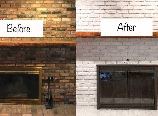 diy whitewashed brick fireplace update