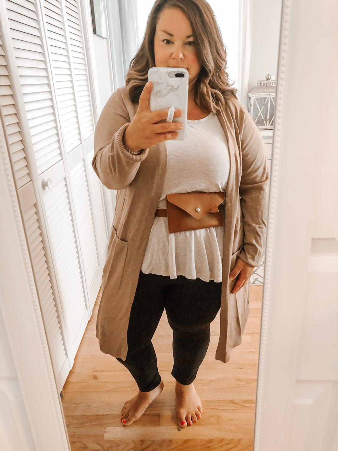 belt bag style session cardigan and leggings