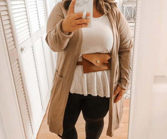 belt bag style session cardigan and leggings