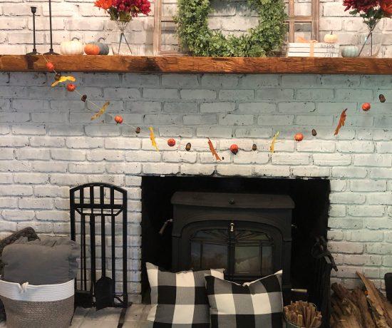 DIY fall garland and mantle decor