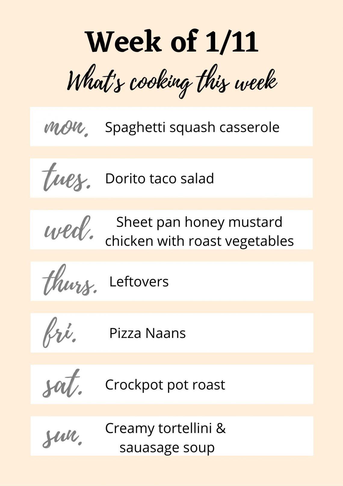 Week of 1/11 meal plan