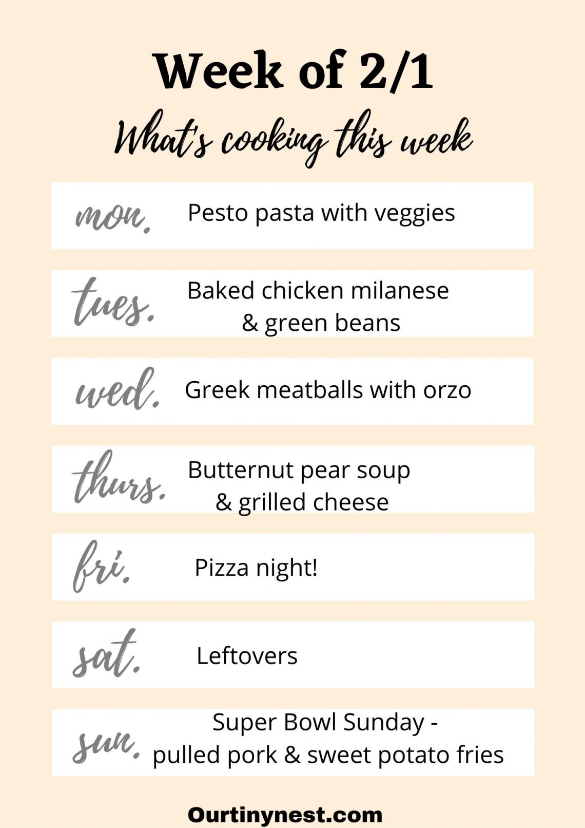 week of 2/1 meal plan
