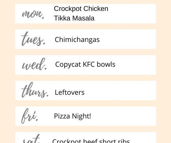 Week of 2/15 meal plan