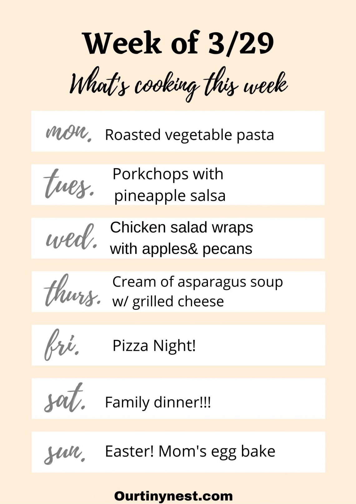 Week of 3/29 meal plan