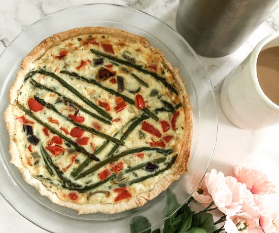 Spring vegetable goat cheese quiche