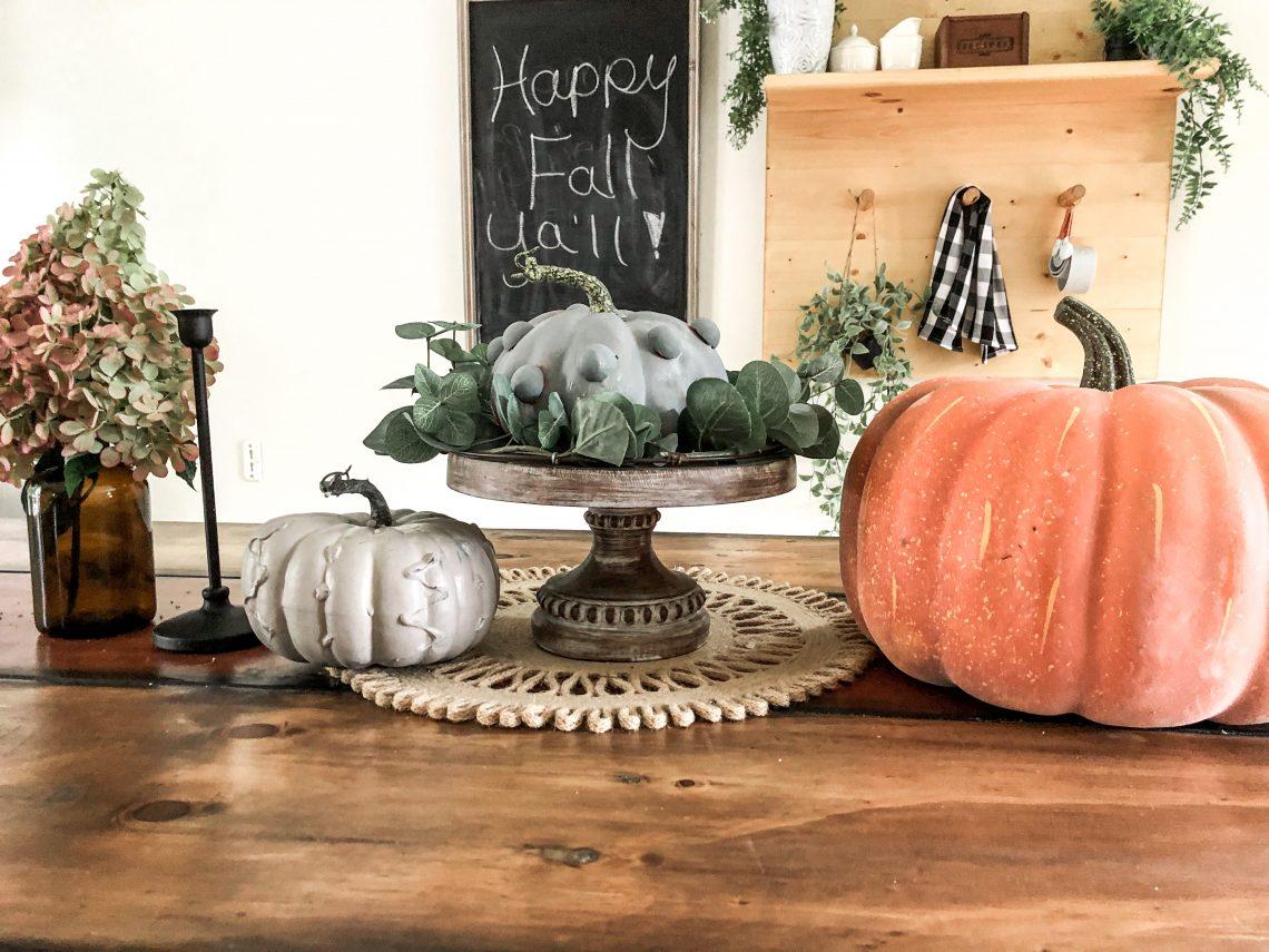 dIY hot glue painted pumpkins